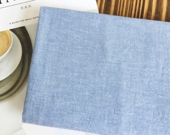 Pre-washed Solid Vintage Cotton Fabric - Blue - By the Yard 100076