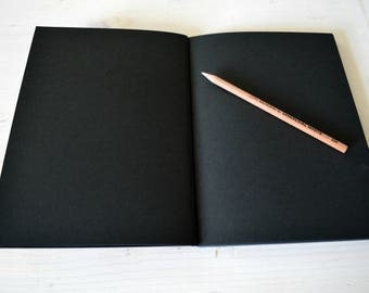 Black sketchbook, black journal , black artist book, black notebook, black paper, black book, black diaty , flat sketchbook, black pages