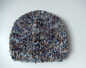 hand knitted baby boy hat / baby boy knitted cap /  blue and brown baby hat newborn