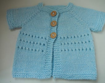 hand knitted baby boy cardigan / baby sweater /  blue cardigan / 0-3 month boys sweater