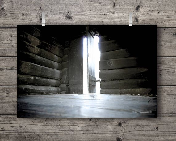 Open Door Log Cabin / Old Fort at Matthiessen State Park, Oglesby, Illinois / Outdoors Photography Print / Rustic Home Decor Wall Art