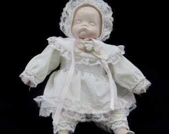 Rare Porcelain and Cloth Newborn Infant Baby Doll