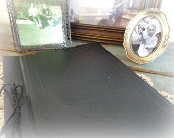 antique scrapbook / blank scrapbook / victorian scrapbook / embossed / black  / journal / picture album / scrap book / ephemera