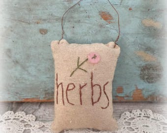 primitive herbs mini pillow ornie ornament bowl filler tucks home decor spring easter
