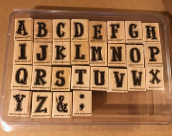 Stampin up! Retired 1998 block letters like new no stains - Stamps scrapbooking - letter stamps - alphabet letters scrapping stamp cards