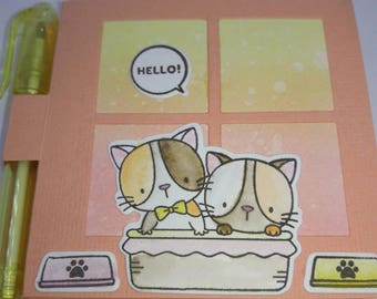 Kitten post it note, Adorable kitties in a bed, Kawaii gift, Friendship gift, cheer up, thinking of you