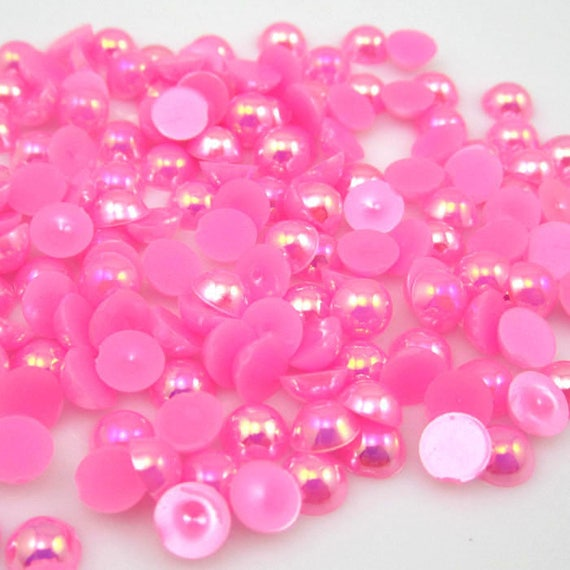 MajorCrafts® Bright Pink AB Flat Back Half Round Resin Pearls C08