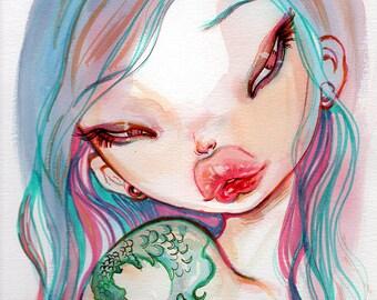 Living Dream, Pop surrealism FANTASY  Fine Art Print  Natasha Wescoat 8x10 12x16 13x19 16x20