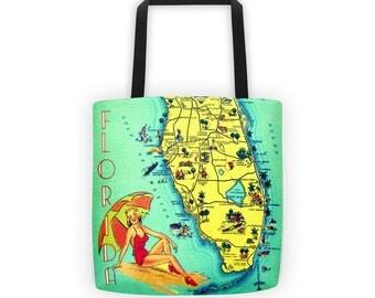 Retro Florida Beach Bag, Beach Mom Gift, Sister gift, FL Map Florida Gift, Coastal Christmas Gift, Vintage Florida Art, Florida Lover Gift,