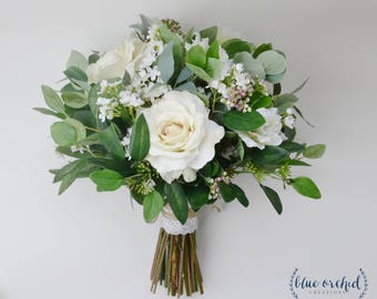 Rustic bouquet etsy wedding flowers wedding bouquet eucalyptus bouquet silk bouquet bridal bouquet rustic junglespirit