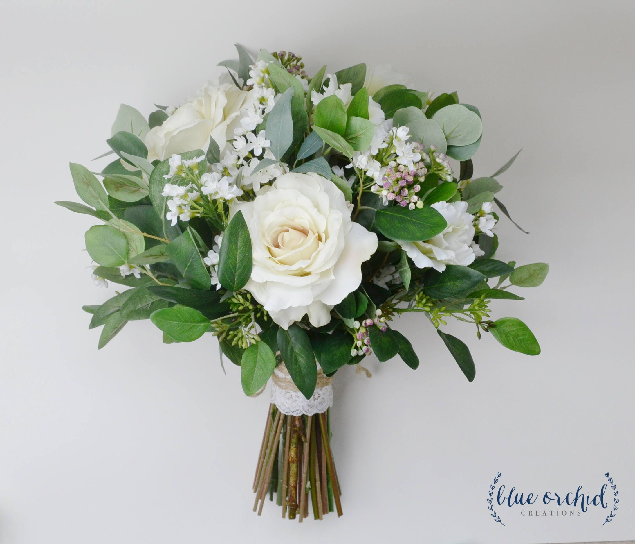 Wedding flowers wedding bouquet eucalyptus bouquet silk for Bouquet de fleurs nature