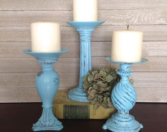 Ocean Blue Ornate Candlesticks, Set of 3 Pillar Candle Holders, Cottage Chic Table Top Candle Holders