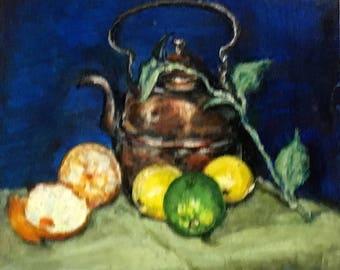 "Fine Art Original Oil Painting, Still Life Painting 6 X 6 ""Citrus & Copper"""