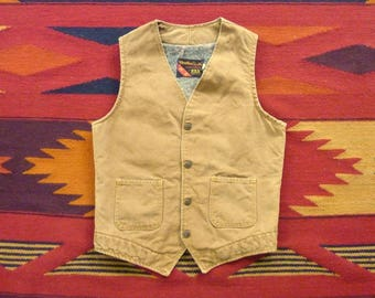 Vintage Ely & Walker Weather Jack Blanket Lined Canvas / Duck Cotton Motorcycle Workwear Vest or Waistcoat Size S | 36 or 38 R. Made in USA.