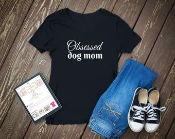 Obsessed Dog Mom Black V-Neck T-Shirt