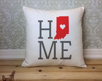 Indiana Pillow, Indiana State Pillow, Indiana Home Pillow, Housewarming Gift, Square Pillow, Home decor, Indiana decor, Indiana Gift