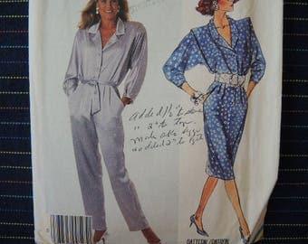 vintage 1980s McCalls sewing pattern 3491 misses dress or jumpsuit size 14