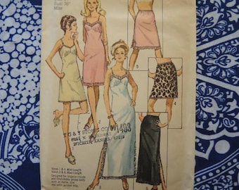vintage 1970s Simplicity sewing pattern 9115 misses slip and half slip in three lengths size 14