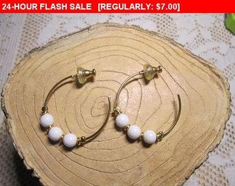 vintage Napier gold tone bead earrings, pierced earrings
