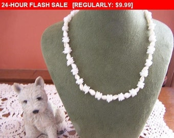 White shell bead necklace, vintage beads, estate jewelry