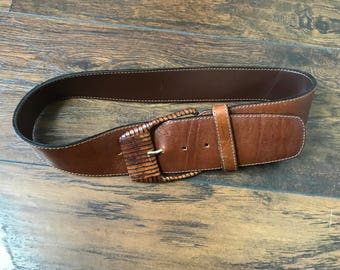 Made In Italy Boho Leather Belt Wide Bohemian Italian Brown Belt 80's 90's Belt Hippie Extra Small - Small A1