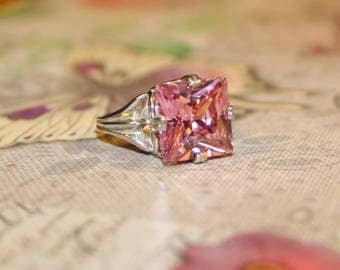 Pink Sapphire Anniversary Ring, Ring With Princess Cut Stone, Cocktail Ring, Ring With Big Stone,