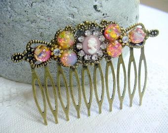 Pink Lady Cameo, Opal Filigree Hair Comb, Rhinestone, Opal, Antique Brass, Pink Cameo Jewelry, Decorative Bridal Hair Comb, Fall Wedding