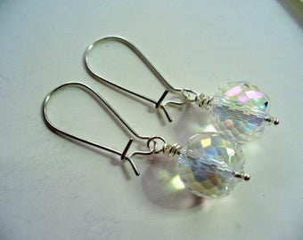 Bridesmaid Gift, Clear Glass Dangle Earring, Multi Faceted ab Glass Beads, Easter Earring, Graduation Earrings, Shiny Silver, Womens Jewelry