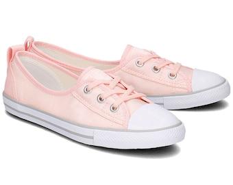 Custom Converse Low Top Slip On Ballet flat Pink Cream Rose Wedding Lace Bridal w/ Swarovski Crystal Chuck Taylor Rhinestone All Star Shoes
