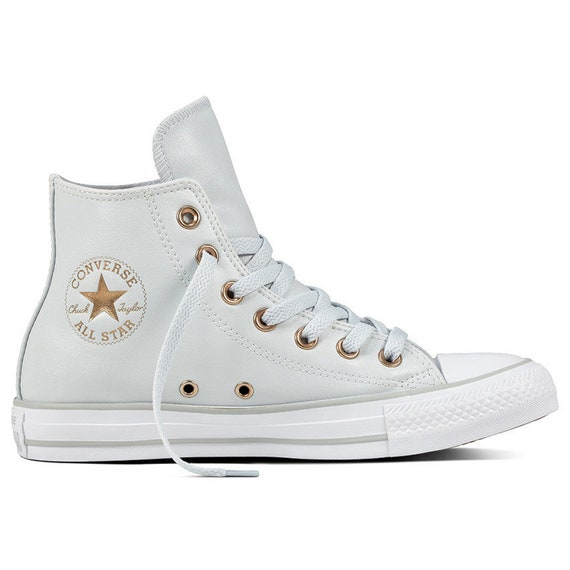 Ladies Converse High Tops Leather Gray Platinum White Brass Bridal w/ Swarovski Rhinestone Crystal Bling Chuck Taylor All Star Wedding Shoes