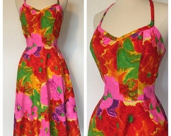 Vintage DeWeese 1960s 1970s Cotton Day Dress