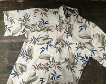 Chaps Ralph Lauren Leaf Print Hawaiian Shirt