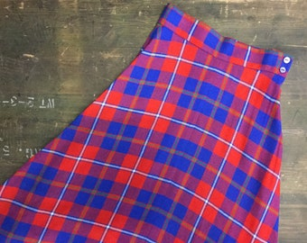 Vintage Red & Blue Tartan Maxi Skirt