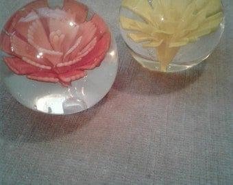 Pair of vintage glass paperweights