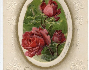 ON SALE Antique Embossed Holly A Happy New Year Greetings Postcard Beautiful Pink Red Roses & Buds in Oval Frame Gold Edge 1900s 1910 by Joh