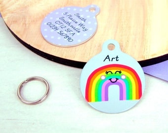 Rainbow Pet ID Tag Personalised