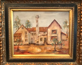 Original Oil Painting FRAMED Scottish Farmhouse by Award Winning Artist Judie Mulkey