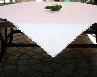 "Tablecloth, French White LInen, Hand crocheted edging, Vintage, Cottage chic, French Country Decor, circa 1960s, 45"" Square, Fine dining"