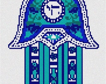Needlepoint Kit or Canvas: Hamsa Chai Blue