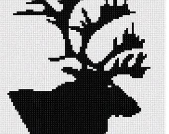 Needlepoint Kit or Canvas: Caribou Silhouette
