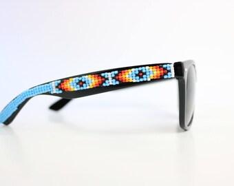 Black Frame Sky Blue Tribal Beaded Sunglasses - Native American Handcrafted