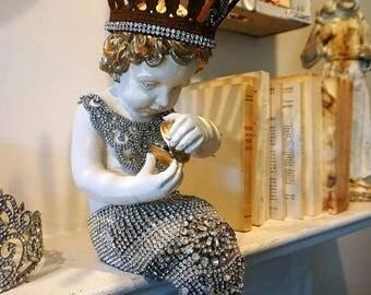 Mermaid statue with rhinestone tail adorned rusty ornate crown shabby beach aquatic child w/ golden hair distressed decor anita spero design