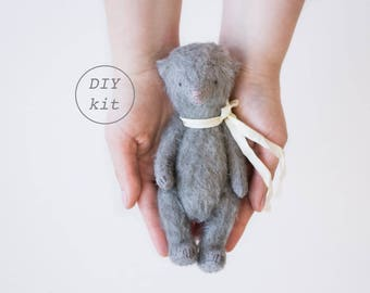 Gray Mohair Teddy Bear 7 Inches DIY Kit, Sewing Kit, Craft Kit, DIY Kits For Adults, DIY Gifts For Her, Artist Teddy Bear, Soft Toys