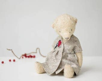 Mohair Teddy Bear Bullfinch Embroidered Dress 9 Inches, Stuffed Animal, Handmade Toy, Artist Bear, Christmas Gift, Personalized Gift For Her