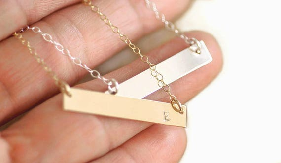 Initial Bar Necklace, Horizontal Bar Necklace, Initial Necklace, Custom Name Necklace, Custom Date Necklace, Roman Numeral Bar Necklace