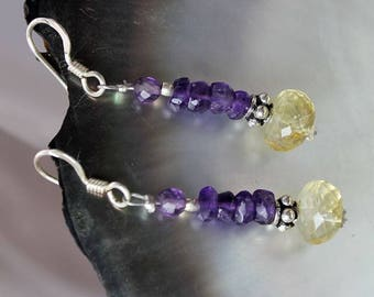 925 Sterling Silver earrings with semi-precious stones faceted amethyst and Citrine
