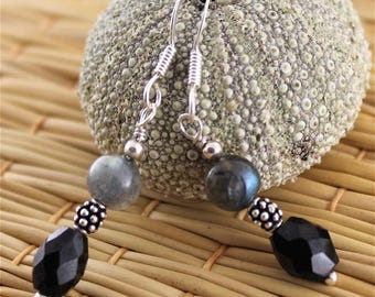 Earrings, spinel, Labradorite and Silver 925