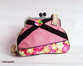 retro pink and beige leather shoulder bag and tissue flower pattern