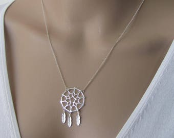 DreamCatcher Necklace, Sterling Silver Necklace, Pendant Necklace, Boho Necklace, Tribal Necklace, Ethnic Necklace, Jewelry, Gift for her