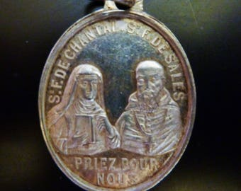 Antique  genuine silver  800 French Religious Medal  St   Francis  de Sales / St Joan  Chantal   Old  Pendant Charm Jewelry s1